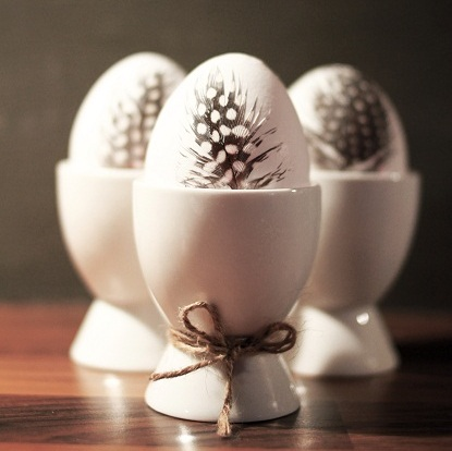 DIY feathered eggs